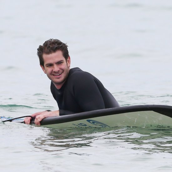 Andrew Garfield Surfing With Children In Sydney, Australia