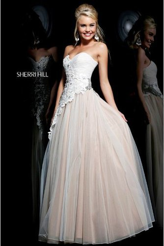 Sherri Hill 11128 Strapless Beaded Ivory Nude Gown