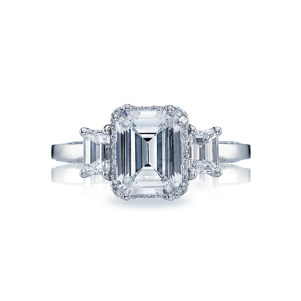 Tacori Dantela Emerald-Cut Diamond Three-Stone Setting Engagement Ring ($7,570)