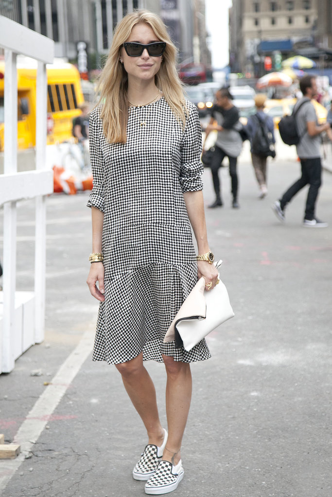 Pernille Teisbaek added coordinated slip-on sneaks to her houndstooth-print dress instead of pumps or platforms. The result? This look feels infinitely more cool and casual and not at all your typical ladies-who-lunch ensemble.