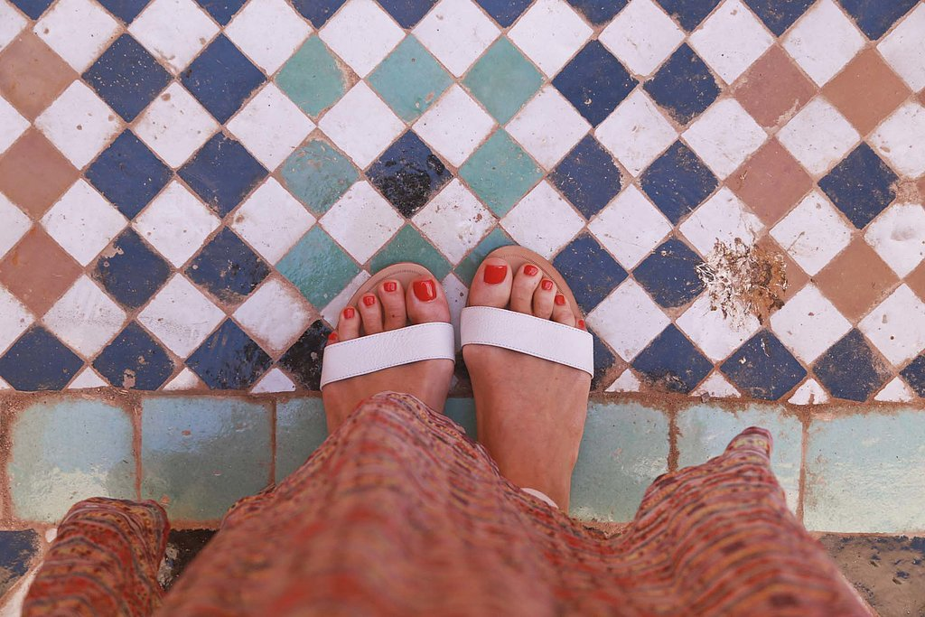 A travel must have: comfortable shoes or sandals. I wore these strappy white flats nearly every day on our trip, because they went with everything.