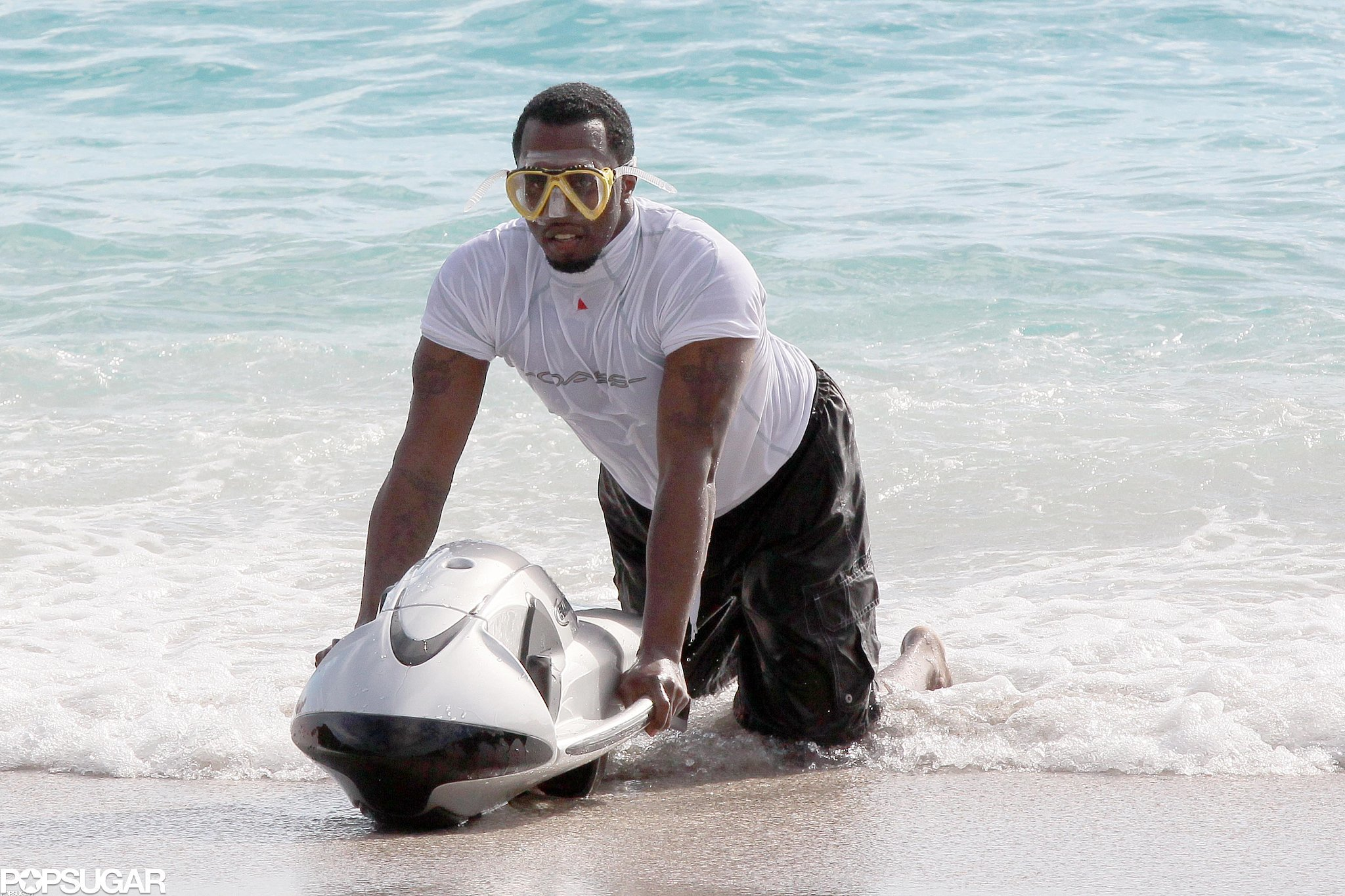 Diddy played around in the St. Bart's water in December 2012 during a family vacation.