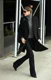 Woman on the go! Gisele Bündchen looked like a chic city dweller in a gray turtleneck sweater and black everything else.