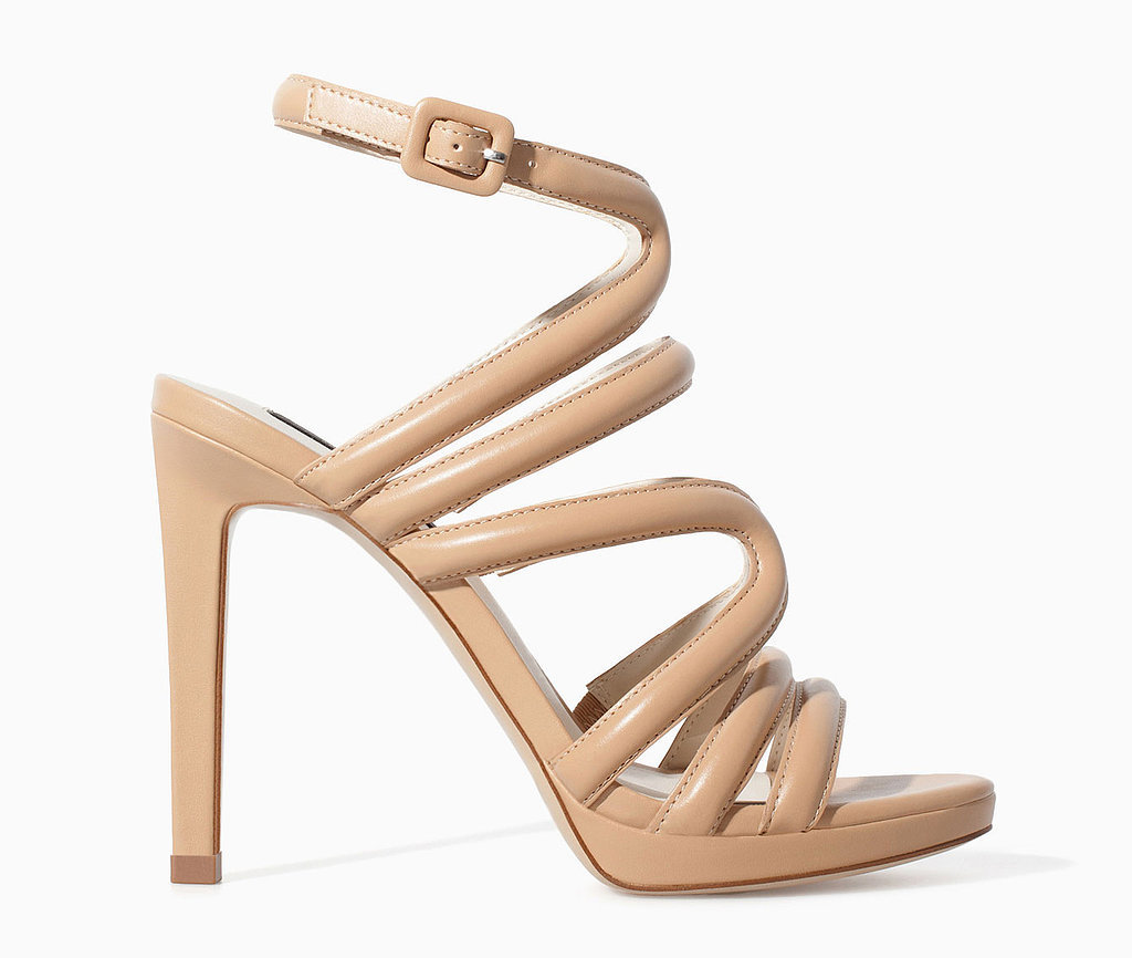 Zara strappy nude high-heel sandals ($80)
