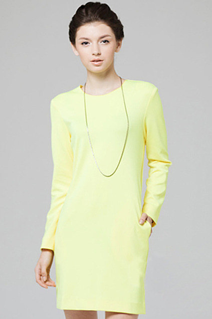 Romwe Scoop Neck Yellow Dress ($49)