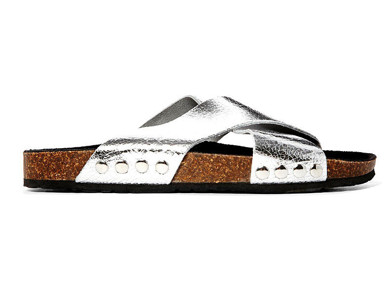 River Island metallic silver cork pool slides ($53)