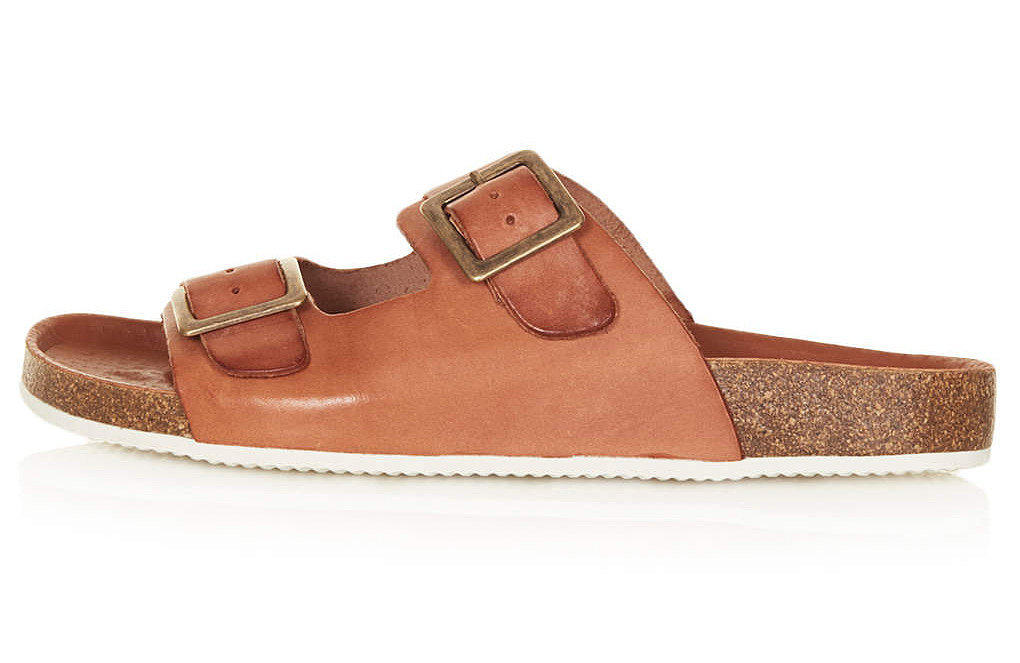 Topshop brown leather double-strap cork flat sandals ($65)