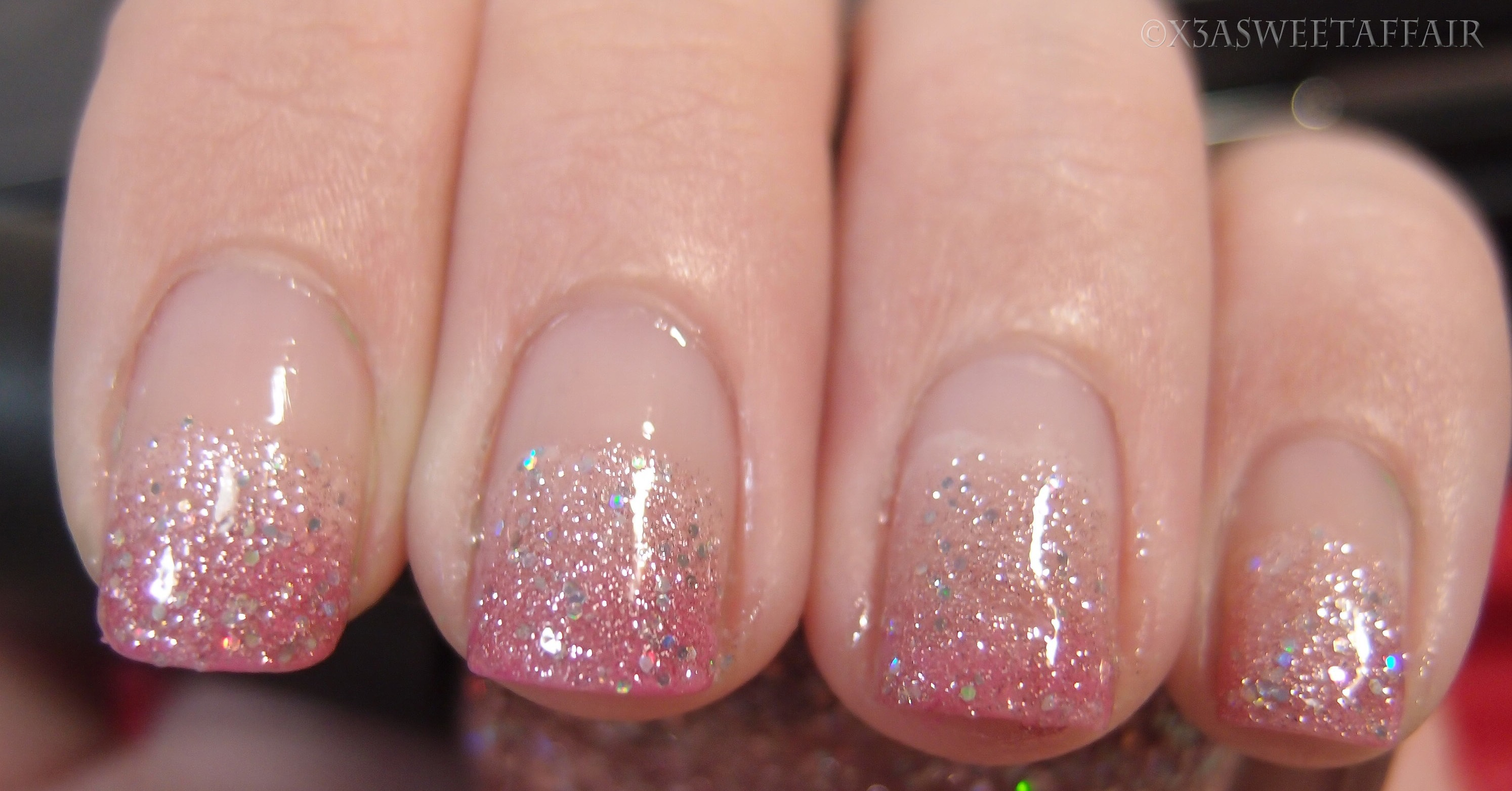 short pink ombre glitter nails pictures to pin on