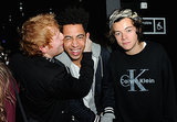Ed gave a kiss to Jordan Stephens while Harry looked unimpressed.