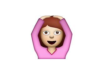 "Interpretation: ""I don't get it!""  Name + meaning: Face With OK Gesture. A person with arms above her head, making an 'OK' sign (circle) with the whole body. Also looks a bit like a ballerina, or putting hands on head. Also known as: Ballerina emoji; hands on head emoji Source: Emojipedia"
