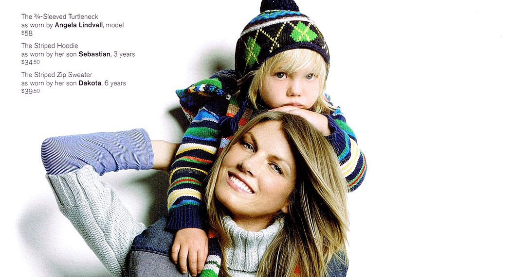 Angela Lindvall with son Sebastian, above, and Dakota, below.