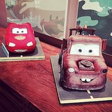 Hilary Duff went all out with Lightning McQueen and Tow Mater cakes for Luca's second birthday. Source: Instagram user hilaryduff