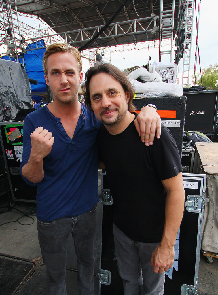 He also shows his fist and funny face with other people. Like Slayer drummer Dave Lombardo.