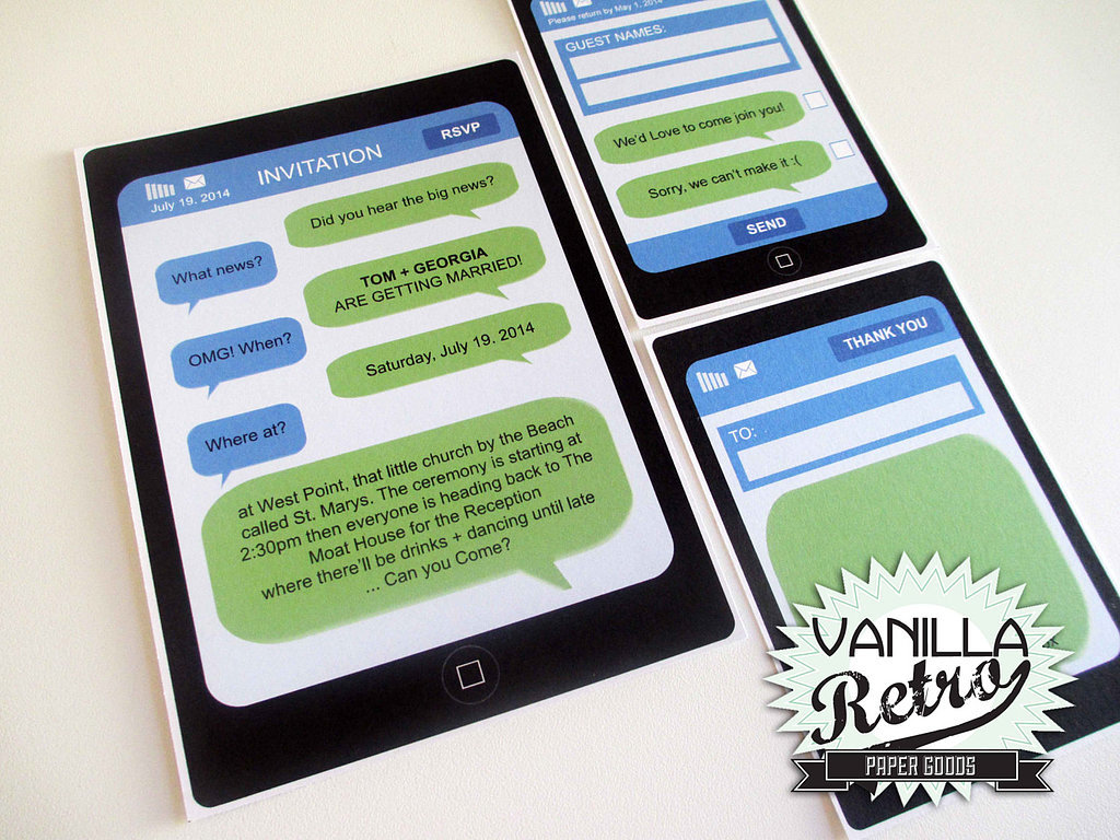 Of course you can't have a geeky wedding-invite roundup without one for iPhone-lovers ($60 for digital file).