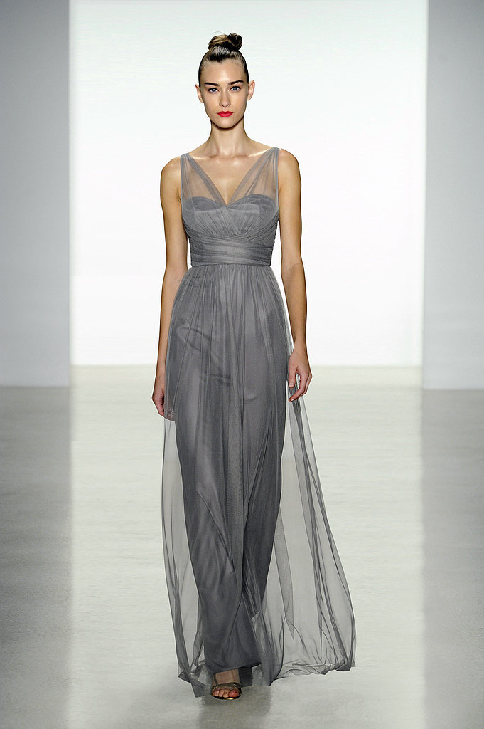 Amsale tulle v-neck long bridesmaid dress in graphite Photo courtesy of Amsale