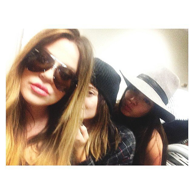 The ladies goofed off in the airport. Source: Instagram user kendalljenner