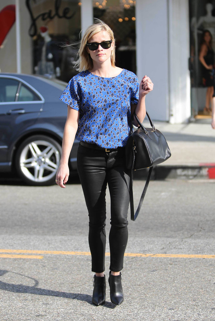 Reese Witherspoon in Leopard Sea Top and Black Leather Pants