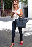 Reese Witherspoon in Pink Joie Sandals and Blue Hermès Tote