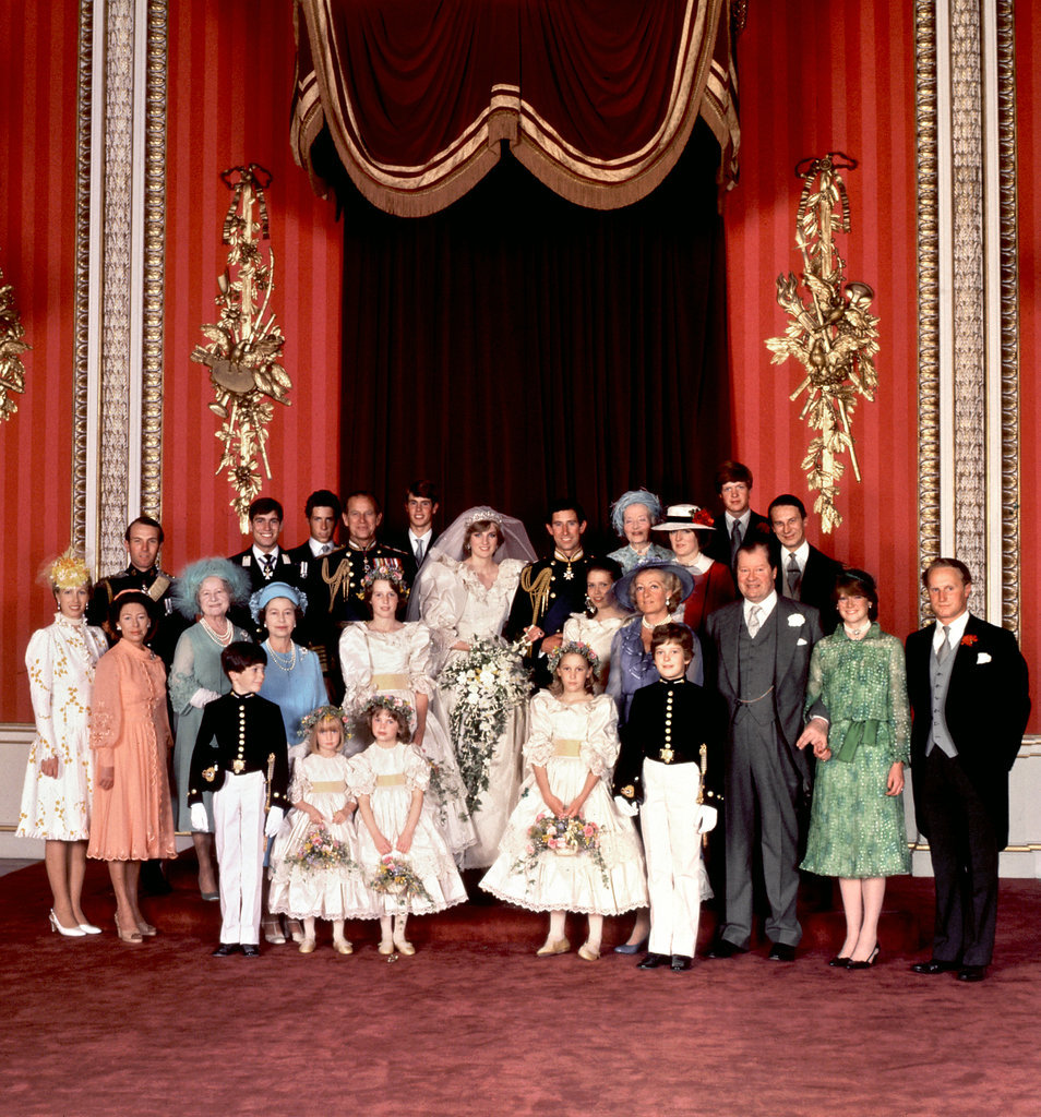 An official family photo was taken on Prince Charles and Princess Diana's wedding day in 1981.