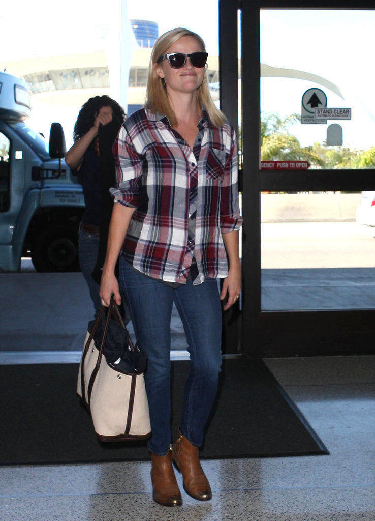 Reese Witherspoon in Plaid Rails Shirt and Golden Goose Boots