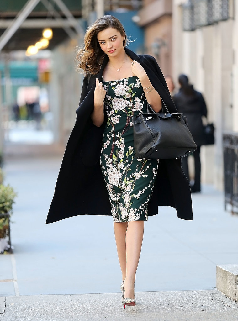 Leave it to Miranda Kerr to look like she's just stepped off a runway while running errands in New York. The lesson we learned from this shot: Pointy pumps and a floral frock always look polished.
