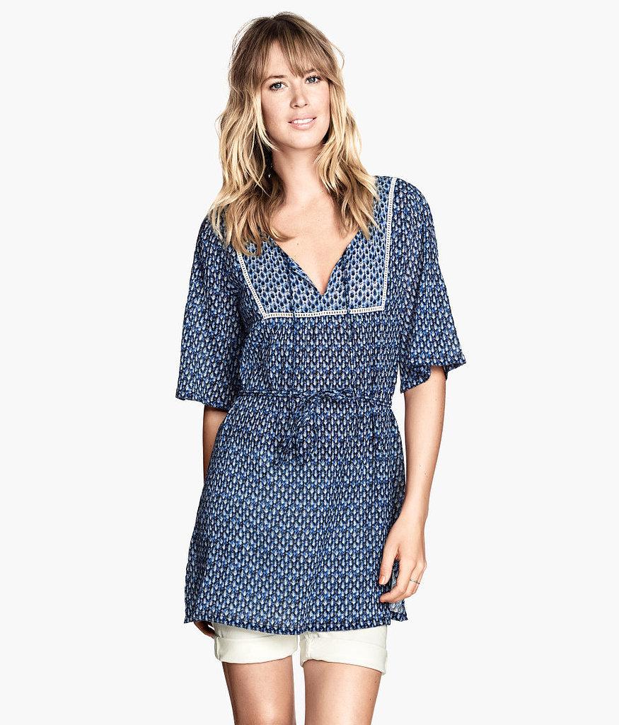 H&M Blue Printed Crinkle Tunic