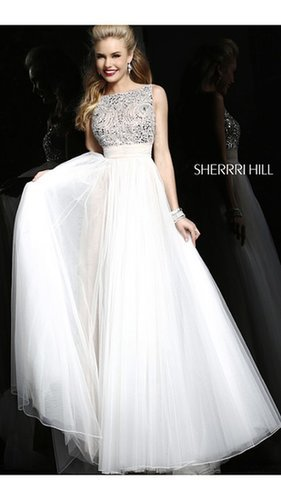 Long White Sherri Hill 11022 Prom Dress 2014Outlet