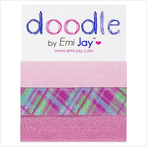 Emi-Jay Doodle Pink Plaid Hair Ties