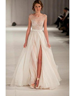 2014 Scoop Neckline Cap Sleeve Prom Dress Beaded Sheer Bodice Ivory