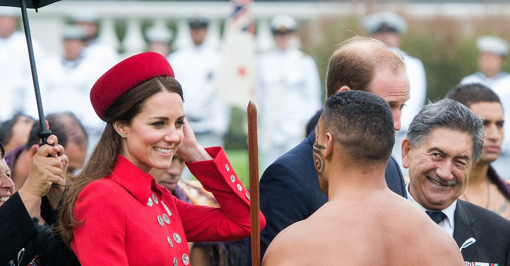 Kate kept her cool while greeting barely dressed men in maori will