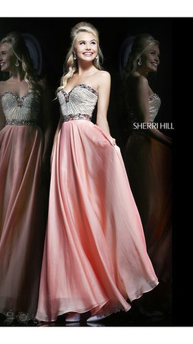 Strapless Sherri Hill 1923 Coral Evening Dress