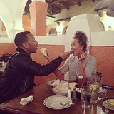 Chrissy Teigen and her husband, John Legend, fed each other. Source: Instagram user chrissyteigen