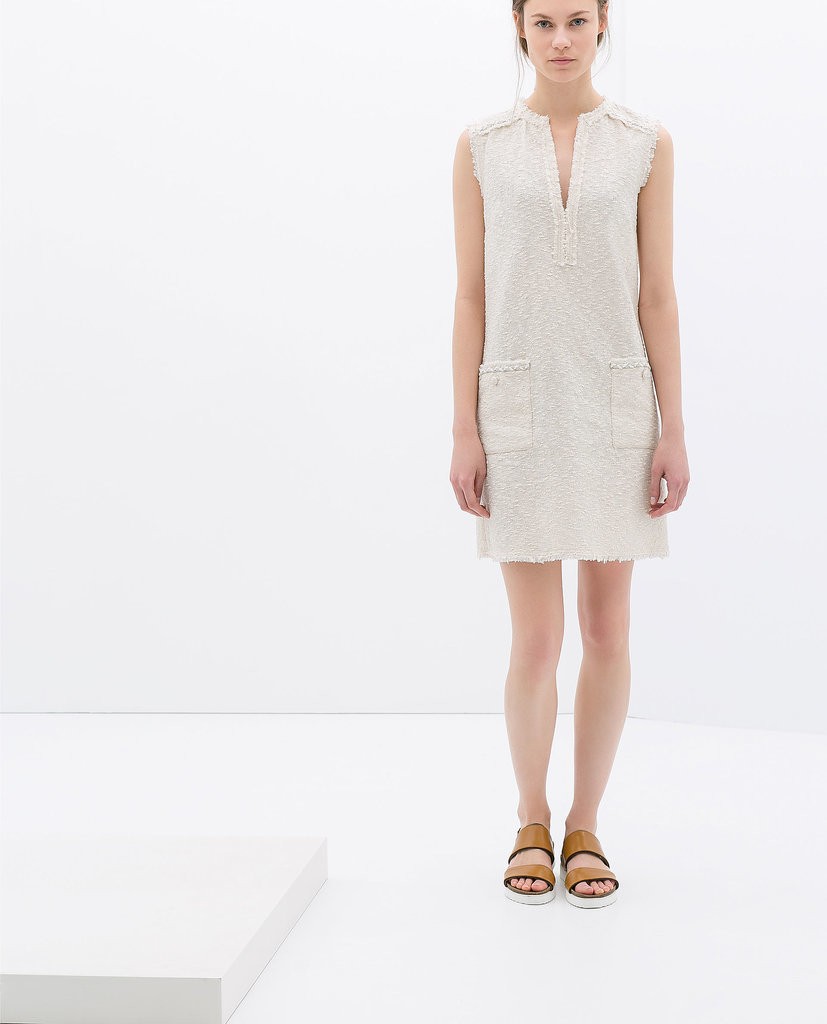 Zara white sleeveless boucle dress ($100)