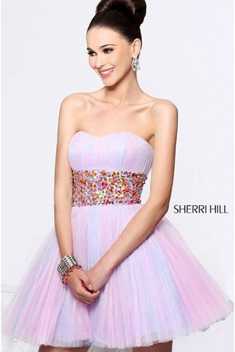 2014 Sherri Hill 21163 Pleated Lavender Cocktail Dress