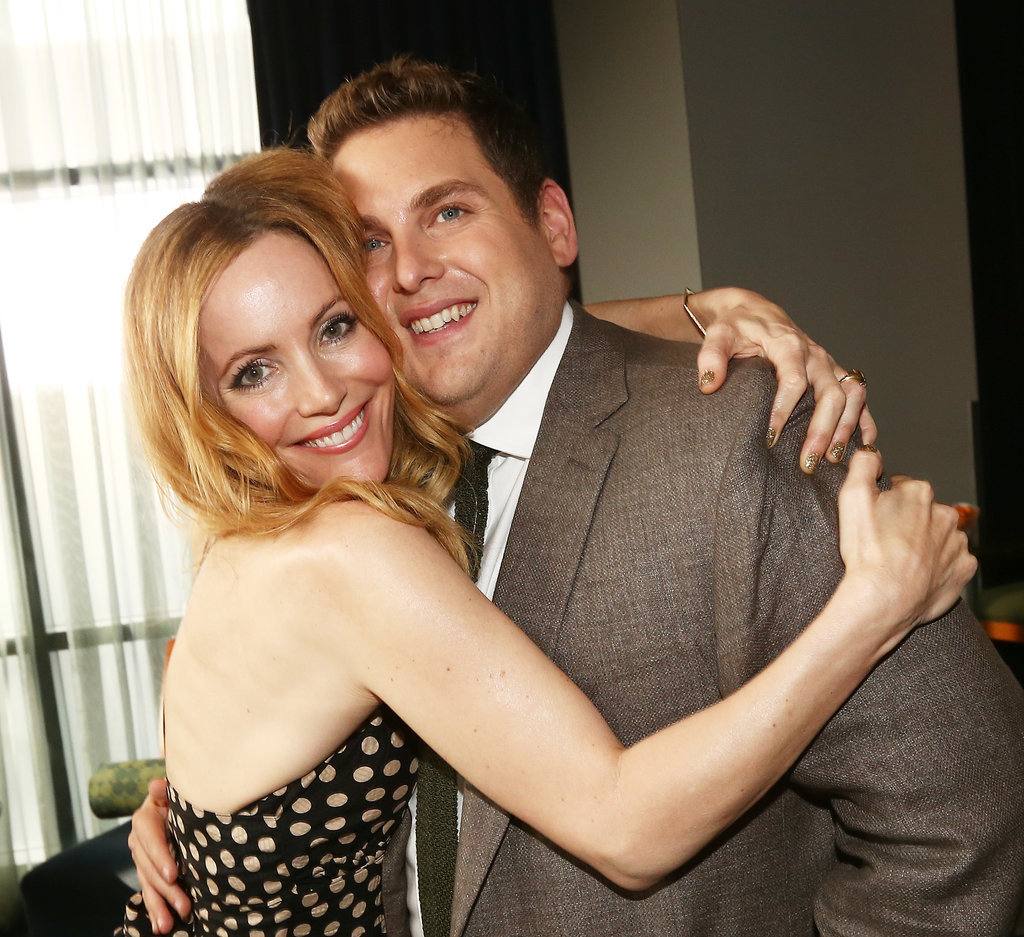 Leslie Mann and Jonah Hill shared a hug.