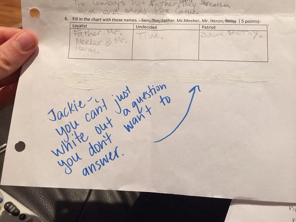 """My sister teaches fifth grade. Nice try, Jackie."" Source: Reddit user emmastoneftw via Imgur"