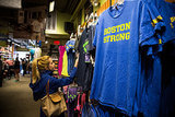 """Boston Strong"" t-shirts were on sale at Marathon Sports, a running store located near the site of the bombing."