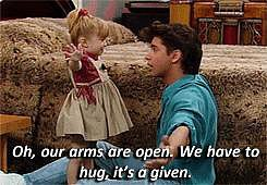 When he explains the rules of hugging.