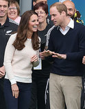 A casual Kate laughed at whatever Prince William was saying when they watched a Rippa Rugby match in Dunedin, New Zealand, in April 2013.