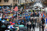 A huge group of people braved the rainy weather to attend the commemoration ceremony.