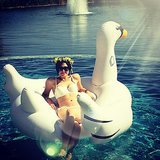 "Emmy Rossum floated around on a giant inflatable swan. Or as she puts it, ""I'm on a SWAN, muthaf*****s."" Source: Instagram user emmyrossum"