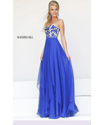 2014 Royal 1924 Sherri Hill Strapless Prom Dress
