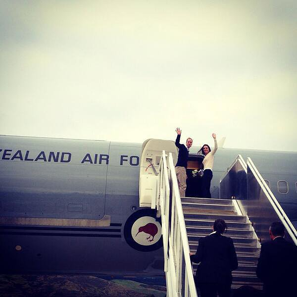 Kate and Will boarded a plane during one of their many trips around New Zealand. Source: Twitter user GovGeneralNZ