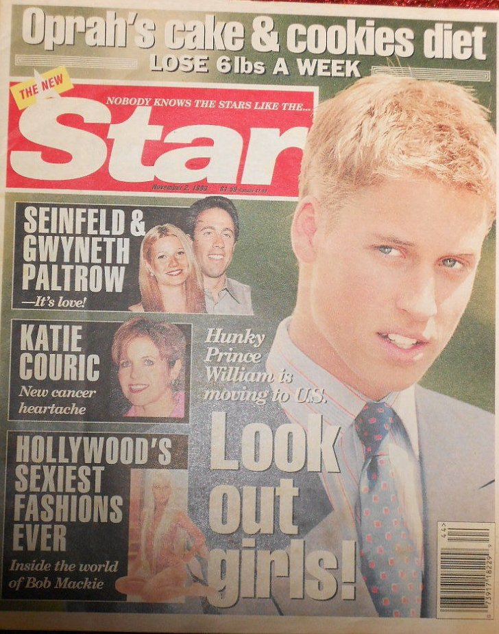 In 1999, Star lied to us by telling us William was moving to America. But we'll take the photo they chose for the cover.