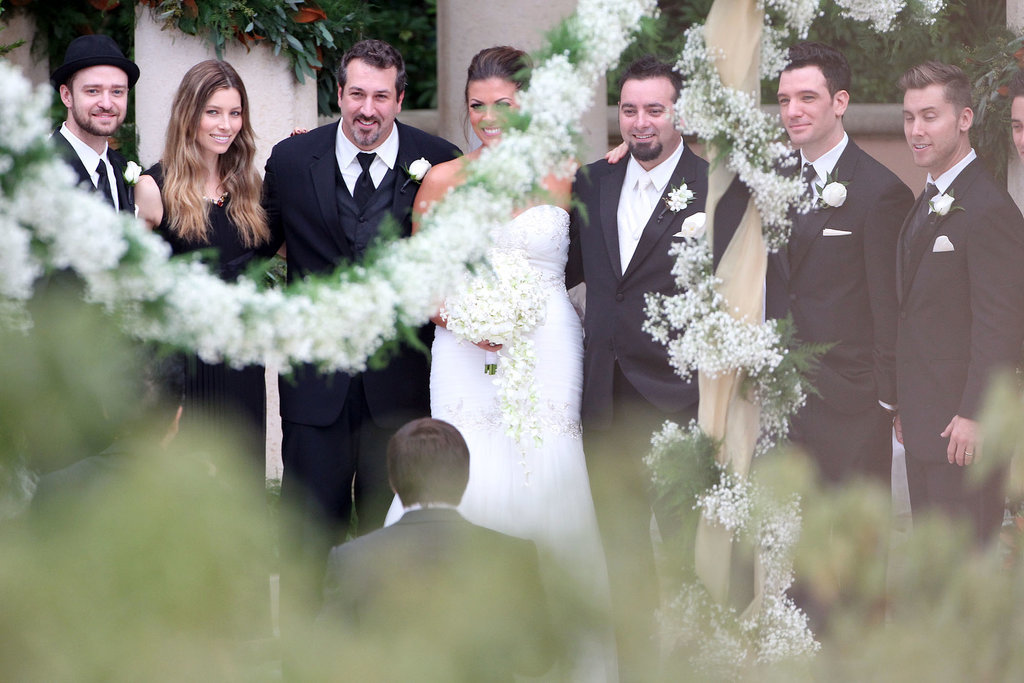 All of *NSYNC showed up for Chris Kirkpatrick's Orlando, FL wedding in November 2013.