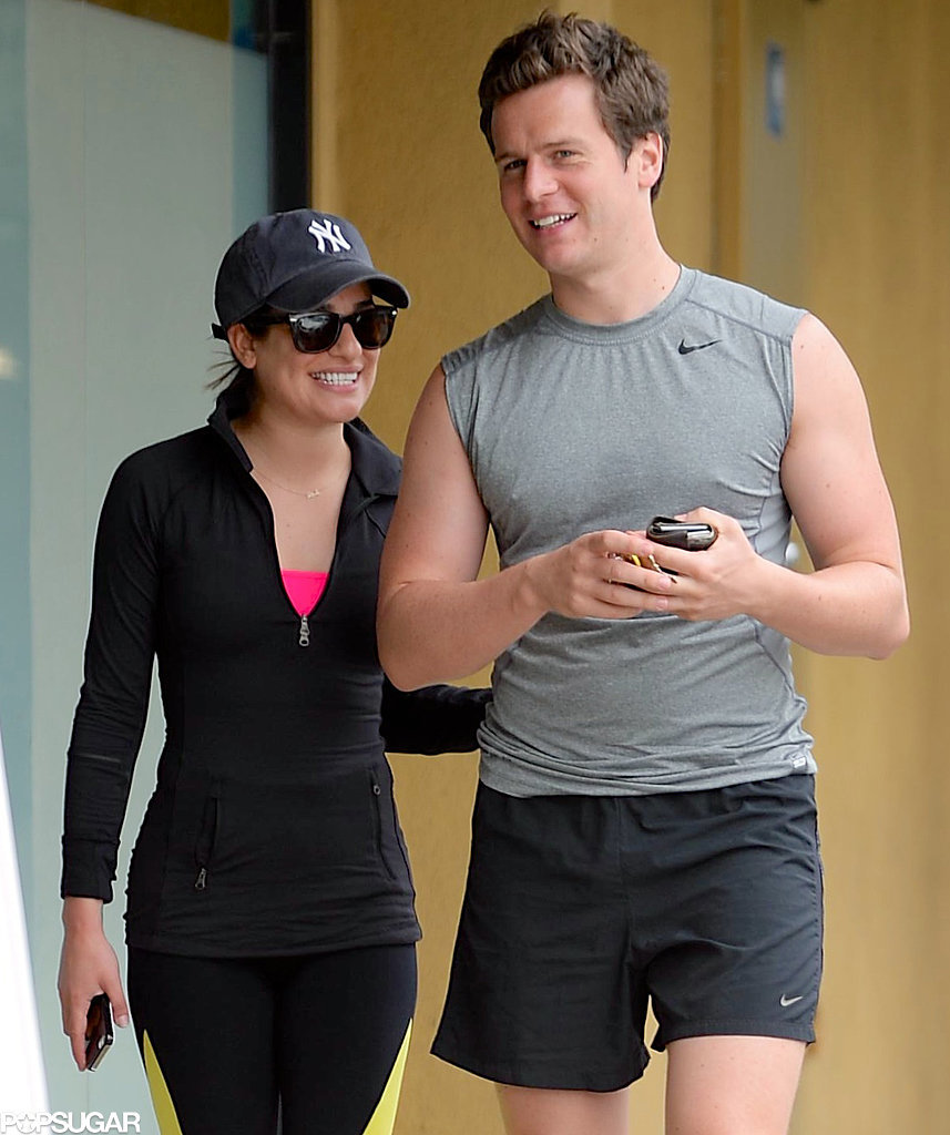 Lea Michele Can't Hide Her Smile Around Jonathan Groff