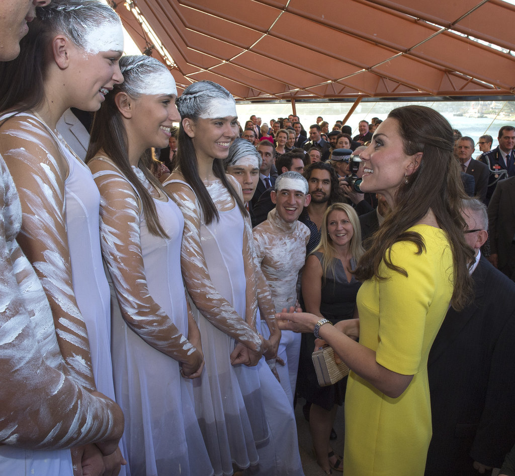 Kate smiled big as she looked up to a group of dancers in Australia on April 16.