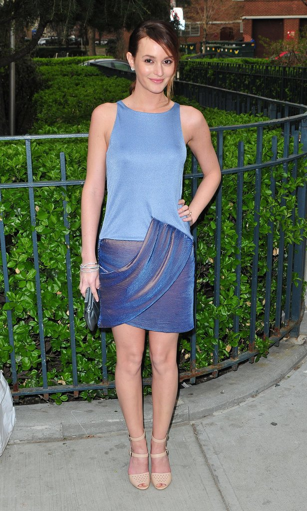 Leighton Meester was a vision in blue.