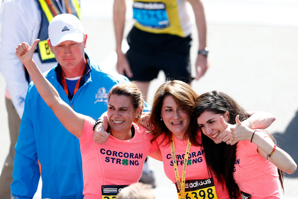 Survivor Celeste Corcoran was all smiles while finishing alongside her daughter and sister.