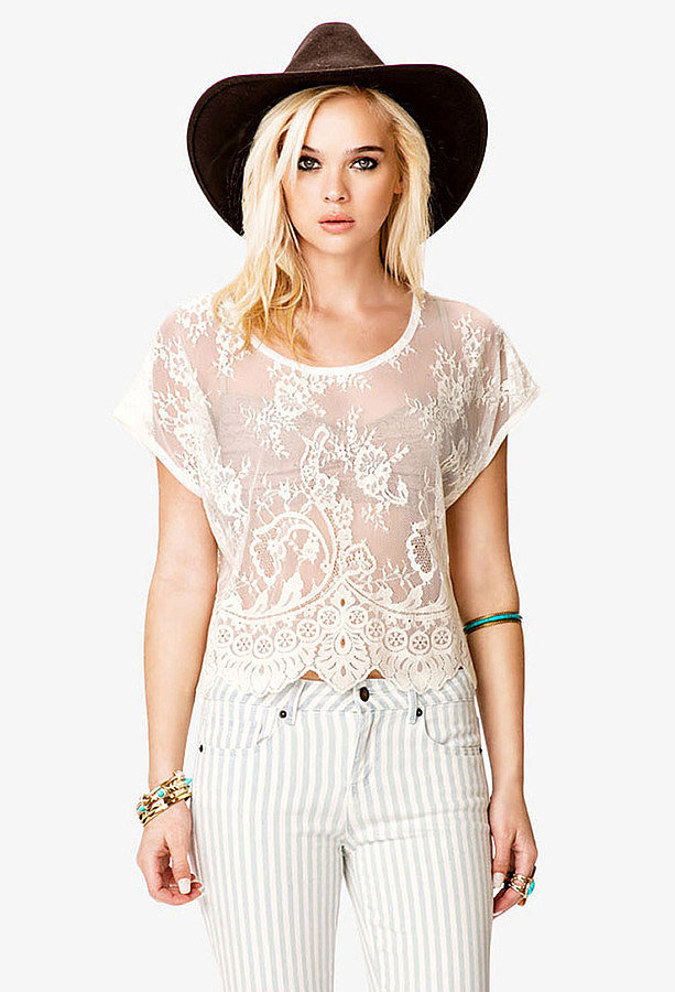 Forever 21 White Lace Tee